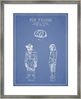 Star Wars Toy Figure No3 Patent Drawing From 1985 - Light Blue Framed Print by Aged Pixel