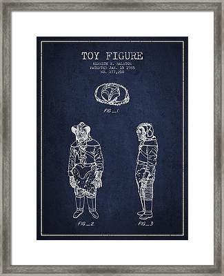 Star Wars Toy Figure No3 Patent Drawing From 1985 - Navy Blue Framed Print by Aged Pixel