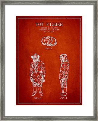 Star Wars Toy Figure No3 Patent Drawing From 1985 - Red Framed Print by Aged Pixel