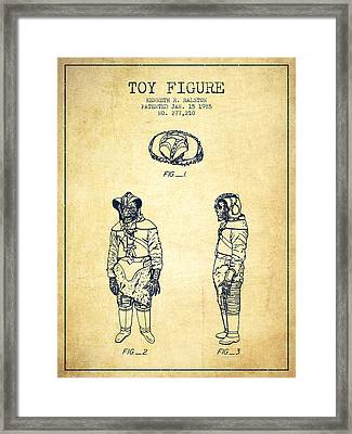 Star Wars Toy Figure No3 Patent Drawing From 1985 - Vintage Framed Print by Aged Pixel