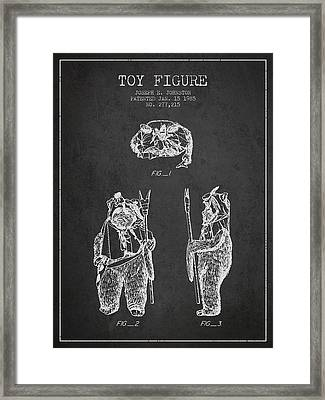 Star Wars Toy Figure No4 Patent Drawing From 1985 - Charcoal Framed Print