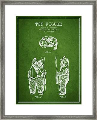 Star Wars Toy Figure No4 Patent Drawing From 1985 - Green Framed Print by Aged Pixel