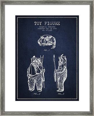Star Wars Toy Figure No4 Patent Drawing From 1985 - Navy Blue Framed Print by Aged Pixel