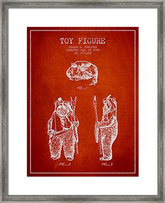 Star Wars Toy Figure No4 Patent Drawing From 1985 - Red Framed Print