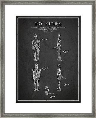 Star Wars Toy Figure No5 Patent Drawing From 1982 - Charcoal Framed Print