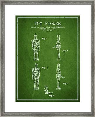 Star Wars Toy Figure No5 Patent Drawing From 1982 - Green Framed Print by Aged Pixel