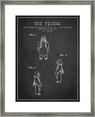 Star Wars Toy Figure Patent Drawing From 1982 - Charcoal Framed Print by Aged Pixel