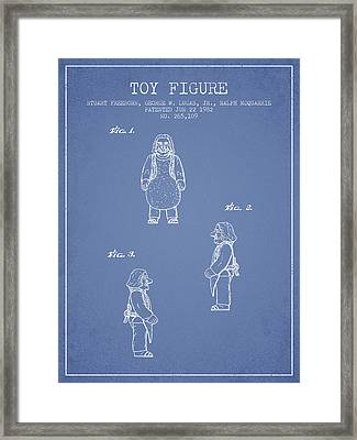 Star Wars Toy Figure Patent Drawing From 1982 - Light Blue Framed Print