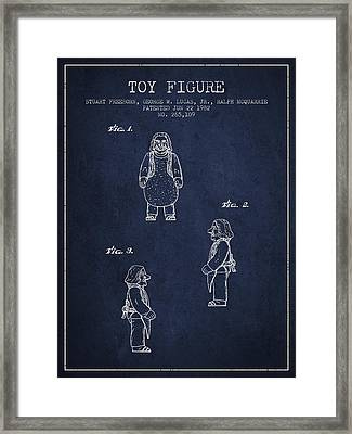 Star Wars Toy Figure Patent Drawing From 1982 - Navy Blue Framed Print
