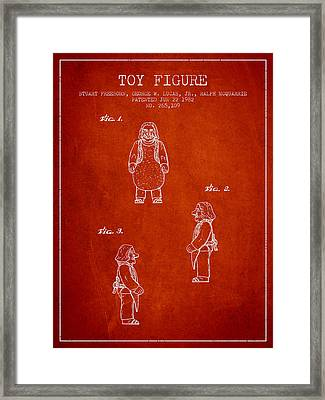Star Wars Toy Figure Patent Drawing From 1982 - Red Framed Print