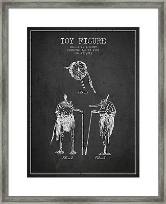 Star Wars Toy Figure Patent Drawing From 1985 - Charcoal Framed Print by Aged Pixel