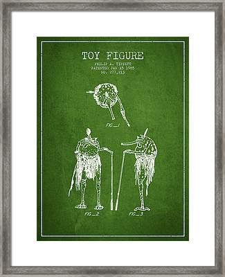 Star Wars Toy Figure Patent Drawing From 1985 - Green Framed Print