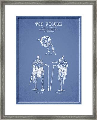 Star Wars Toy Figure Patent Drawing From 1985 - Light Blue Framed Print