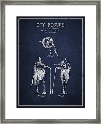 Star Wars Toy Figure Patent Drawing From 1985 - Navy Blue Framed Print
