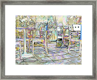 Framed Print featuring the digital art Starbucks After Hours by Mark Greenberg