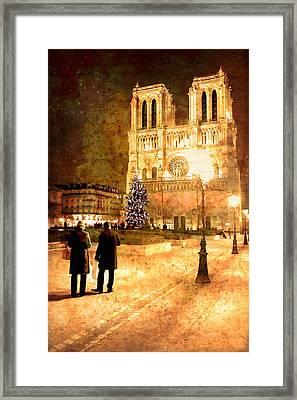 Stardust Over Notre Dame De Paris Cathedral Framed Print