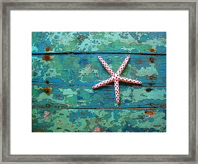 Seashore Peeling Paint - Starfish And Turquoise Framed Print