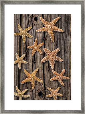 Starfish On Old Wood Framed Print by Garry Gay