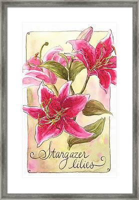 Stargazer Lilies Framed Print by Leslie Fehling