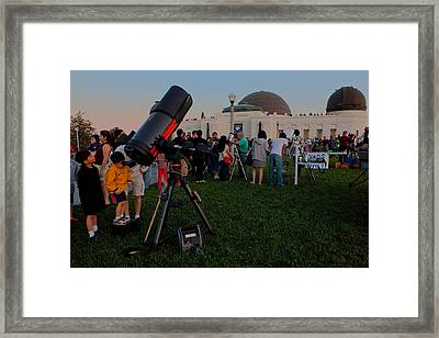 Stargazers At Dusk - Griffith Observatory Los Angeles California Framed Print by Ram Vasudev