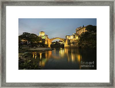 Stari Most By Night  Framed Print by Rob Hawkins