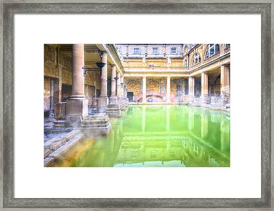 Staring Into Antiquity At The Roman Baths - Bath England Framed Print