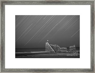 Starjet Roller Coaster Startrails Bw Framed Print by Michael Ver Sprill