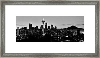 Stark Seattle Skyline Framed Print