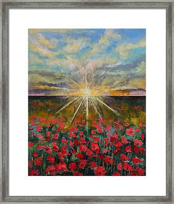 Starlight Poppies Framed Print