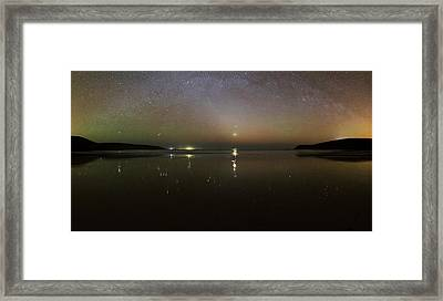 Starlight Reflected In A Bay At Night Framed Print by Laurent Laveder