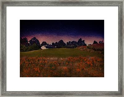 Starry Indigo Blue Twilight In The Country  Framed Print