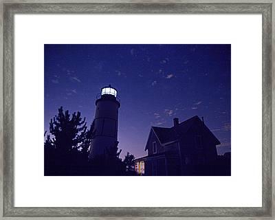 Starry Night At Sandy Neck Lighthouse Framed Print by Charles Harden
