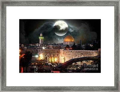 Full Moon At The Dome Of The Rock Framed Print