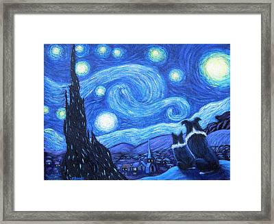 Starry Night Border Collies Framed Print