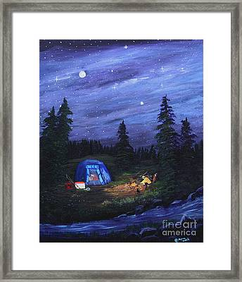 Starry Night Campers Delight Framed Print by Myrna Walsh