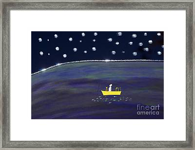 Framed Print featuring the digital art Starry Night Fishing by Haleh Mahbod