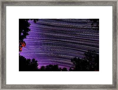 Starry Night In Ithaca New York Star Trail Photography Framed Print by Paul Ge