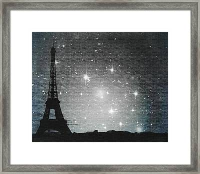 Starry Night In Paris - Eiffel Tower Photography  Framed Print