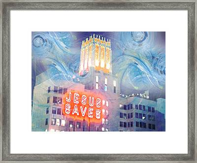 Framed Print featuring the painting Starry Night Indowntown La by John Fish