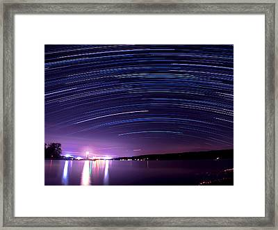 Starry Night On Cayuga Lake Framed Print by Paul Ge