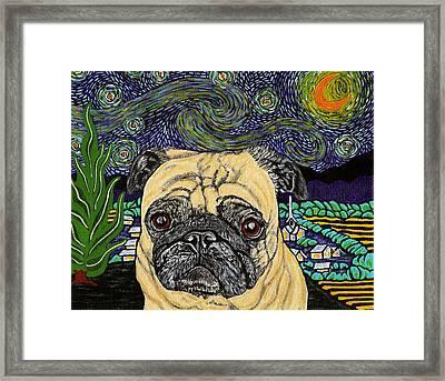 Starry Night Pug Framed Print by Karen Howell