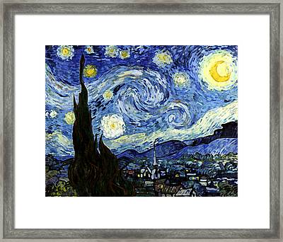 Framed Print featuring the digital art Starry Night Reproduction Art Work by Vincent van Gogh