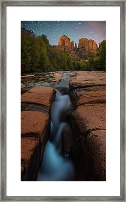 Starry Night Sluice Box Photography At Red Rock Crossing Framed Print by Mike Berenson