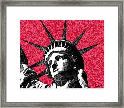 Starry Night Statue Of Liberty Print Framed Print