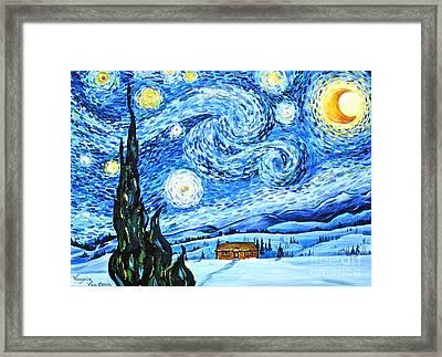 Starry Night In The Rockies Framed Print by Virginia Ann Hemingson