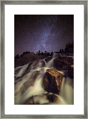 Starry Night Waterfalls In Rocky Mountain National Park Framed Print by Mike Berenson