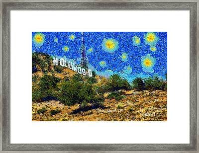 Starry Nights In The Hollywood Hills 5d28482 20141005 Framed Print by Wingsdomain Art and Photography