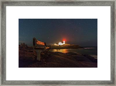 Starry Skies Over Nubble Lighthouse  Framed Print