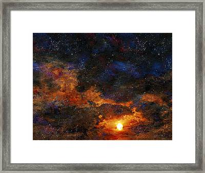 Framed Print featuring the digital art Starry Sunset by Bruce Rolff
