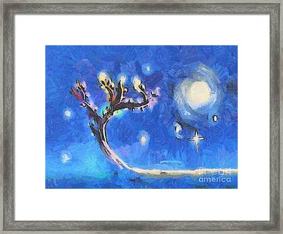 Starry Tree Framed Print by Pixel  Chimp